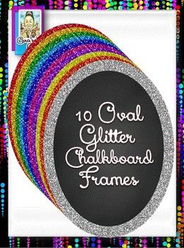 Clip Art ~ Oval Glitter Chalkboard Frames - 500 Fantastic Followers Celebration