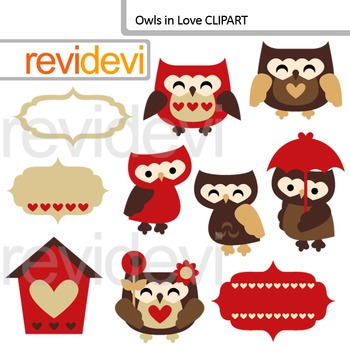 Clip Art Owls In Love (red, brown)