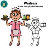 Clip Art PNG - Waitress