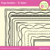 Clip Art Page Border Frames: Black and White Digital Frames