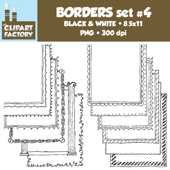 Clip Art: Page Borders - 12 NEW Fun decorative borders - Set #4