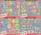 Colorful Letters and Numbers Clipart Bundle