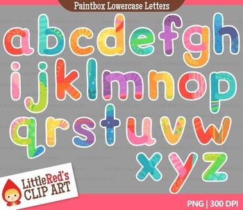 Colorful Lowercase Letters with Punctuation Clipart
