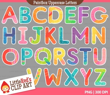 Colorful Uppercase Letters with Punctuation Clipart