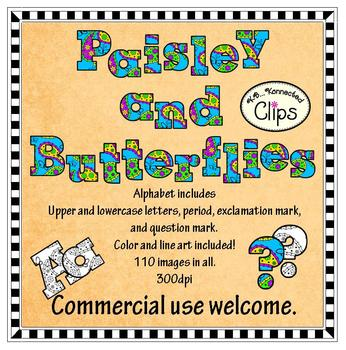 Clip Art - Paisley and Butterflies Alphabet (Color and line art included.)
