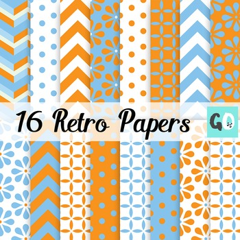 Retro Blue and Orange Papers, Chevrons Daisies Dots