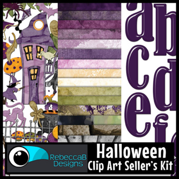 Halloween Clip Art: Halloween Witch Kit - Papers, Clip Art, Alphabet