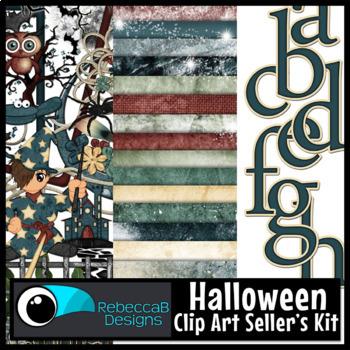 Halloween Clip Art: Halloween Wizard Kit - Papers, Clip Art, Alphabet