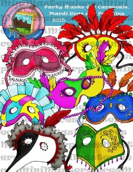 Clip Art: Party Masks for Carnevale, Mardi Gras and Faschi