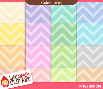 Pastel Chevron Backgrounds - 16 Digital Papers