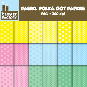 Clip Art: Pastel Polka Dot Papers - 18 tone on tone digital papers