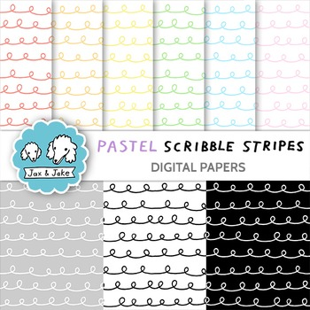 Clip Art: Pastel Scribble Stripes Digital Papers for Personal and Commercial Use