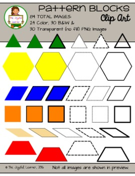 Clip Art: Pattern Blocks (color, B&W, transparent, solid/dotted/dashed lines)