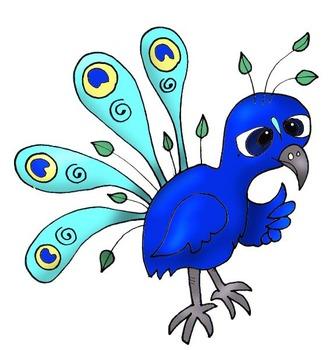Clip Art: Peacocks at School, Math, Science, Art, Technology by HeatherSArtwork