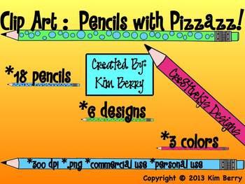 Clip Art:  Pencils with Pizzazz!