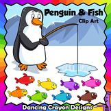 Clip Art Penguin and Fish | Clipart Set