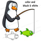 Clip Art Penguin and Fish | Clipart Set