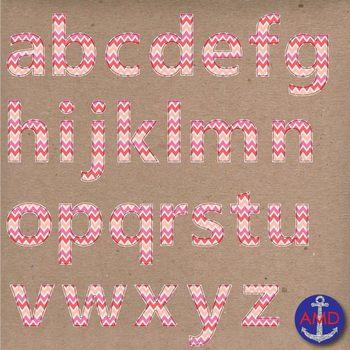 Clip Art: Pink Chevron Stitched Alphabet & Numbers Clip Ar