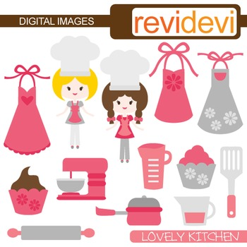 Clip Art Pink Grey kitchen (girl chef, baking, cooking) cute clipart