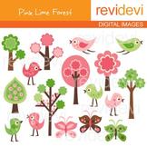 Clip Art Pink Lime Forest (birds, trees, butterflies) clipart