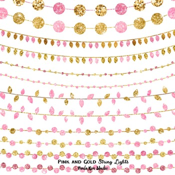 Clip Art - Pink and Gold Glitter String Lights
