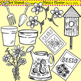 Clip Art Plant a Flower in black and white