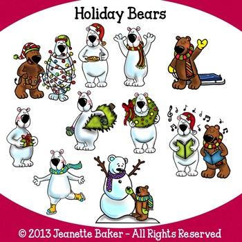Polar Bears Clip Art by by Jeanette Baker