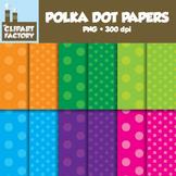 Clip Art: Polka Dot Backgrounds - 12 Digital Paper Patterns