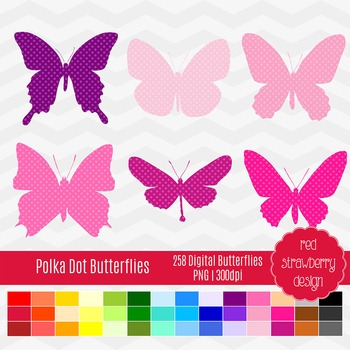 Clip Art - Polka Dot Butterflies - Back to Basics