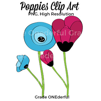 Poppies Clipart, Flowers Clip Art