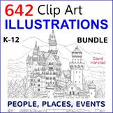 BUNDLE: Clip Art & Posters | 642 Illustrations | People, Places, Events (K-12)