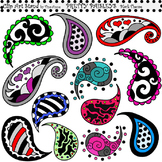 Clip Art Pretty Paisleys Black Theme