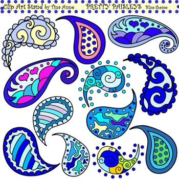 Clip Art Pretty Paisleys Blue Theme