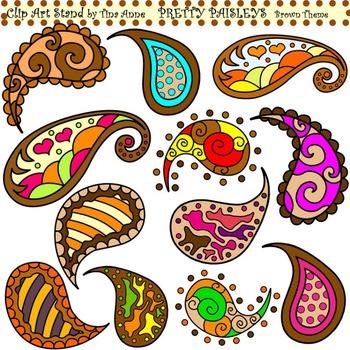 Clip Art Pretty Paisleys Brown Theme