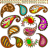 Clip Art Pretty Paisleys Brown Theme