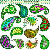 Clip Art Pretty Paisleys Green Theme