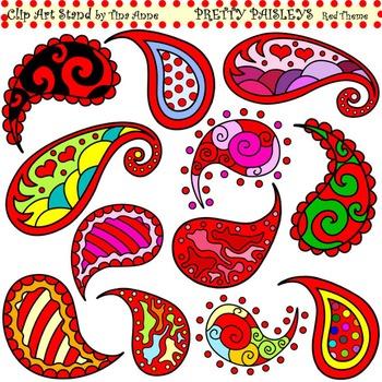 Clip Art Pretty Paisleys Red Theme