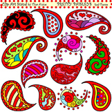 Clip Art Pretty Paisleys Red Theme