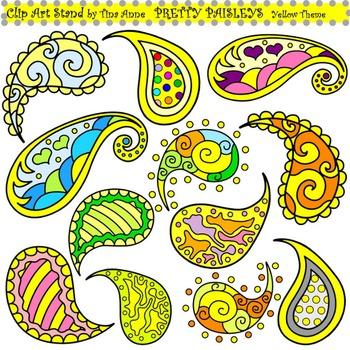 Clip Art Pretty Paisleys Yellow Theme