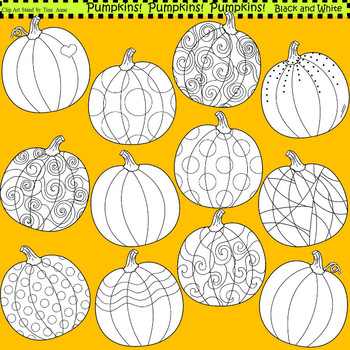 Clip Art Pumpkins in black and white