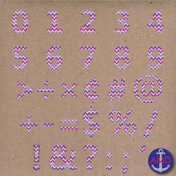 Clip Art: Purple Chevron Stitched Alphabet & Numbers Clip Art Set (Letter Tiles)