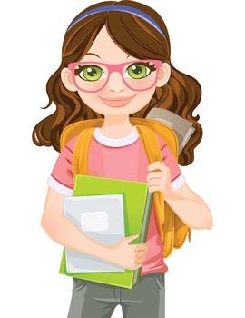 Clip Art - QUINN - female, girl, student, digital graphics - backpack