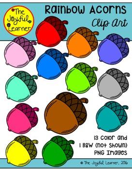 Clip Art: Rainbow Acorns FREEBIE!