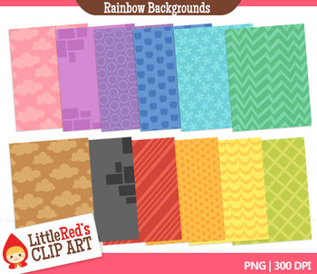 Clip Art: Rainbow Backgrounds - 120 Digital Papers
