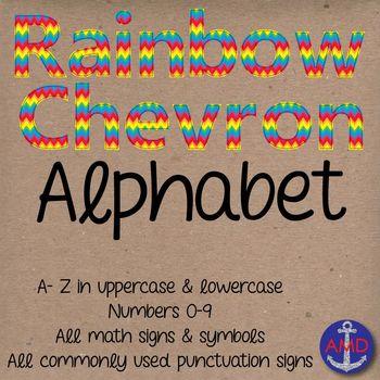 Clip Art: Rainbow Chevron Stitched Alphabet & Numbers Clip Art Set- Letter Tiles