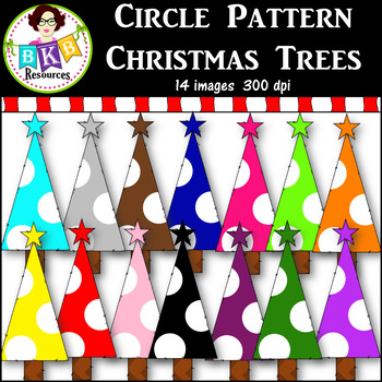 Clip Art ● Rainbow Circle Pattern Christmas Trees ● Products for TpT Sellers