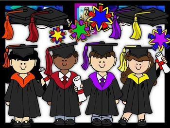 Clip Art~ Rainbow Graduation Kids