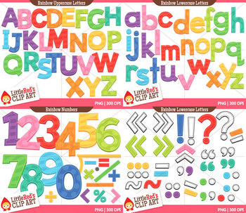 Rainbow Letters and Numbers Clipart Bundle