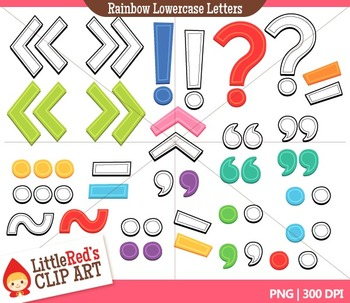 Rainbow Lowercase Letters with Punctuation Clipart