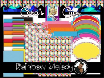 Clip Art~  Rainbow Melody Digital Paper Collection